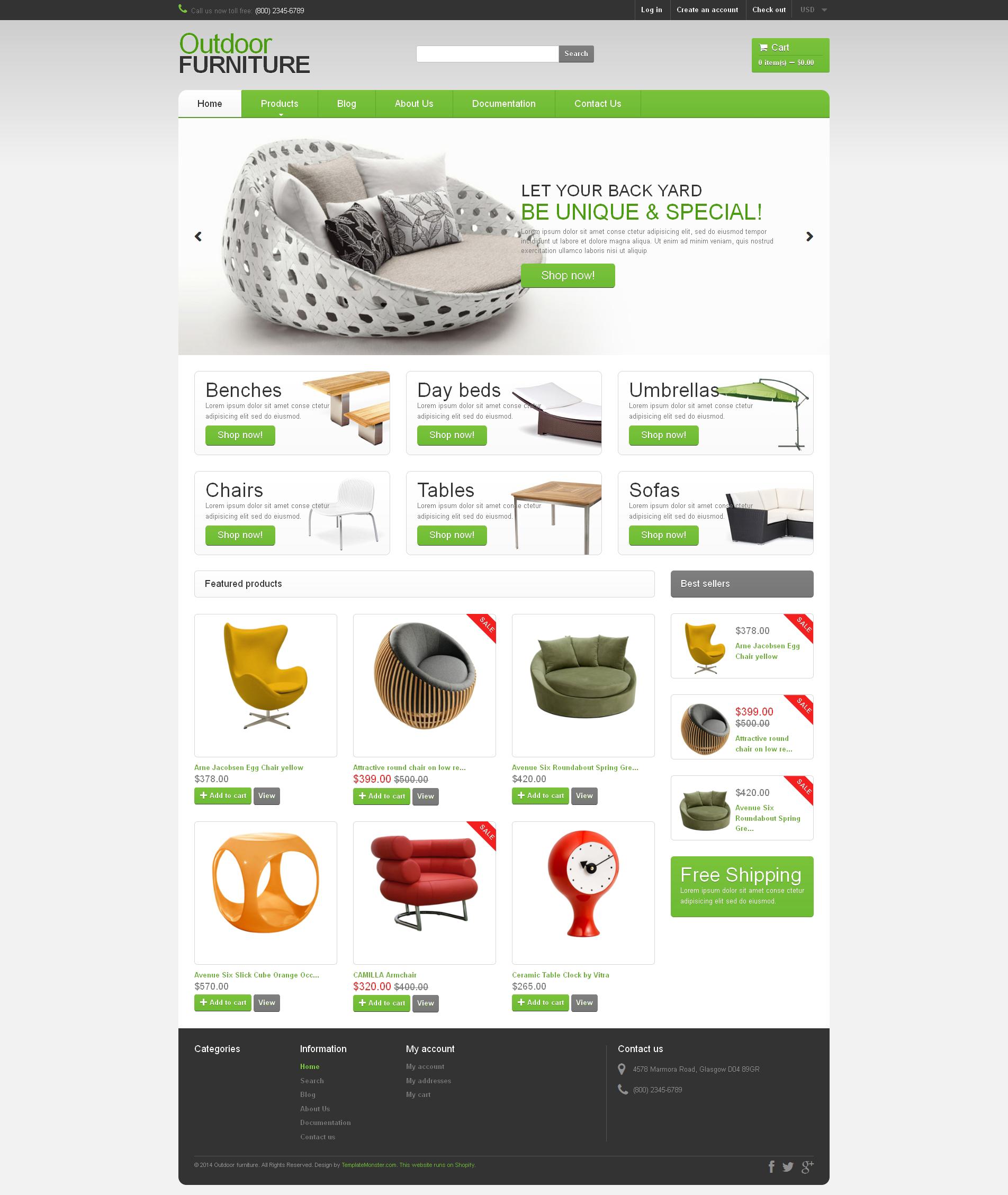 Адаптивный Shopify шаблон №49160 на тему мебель - скриншот