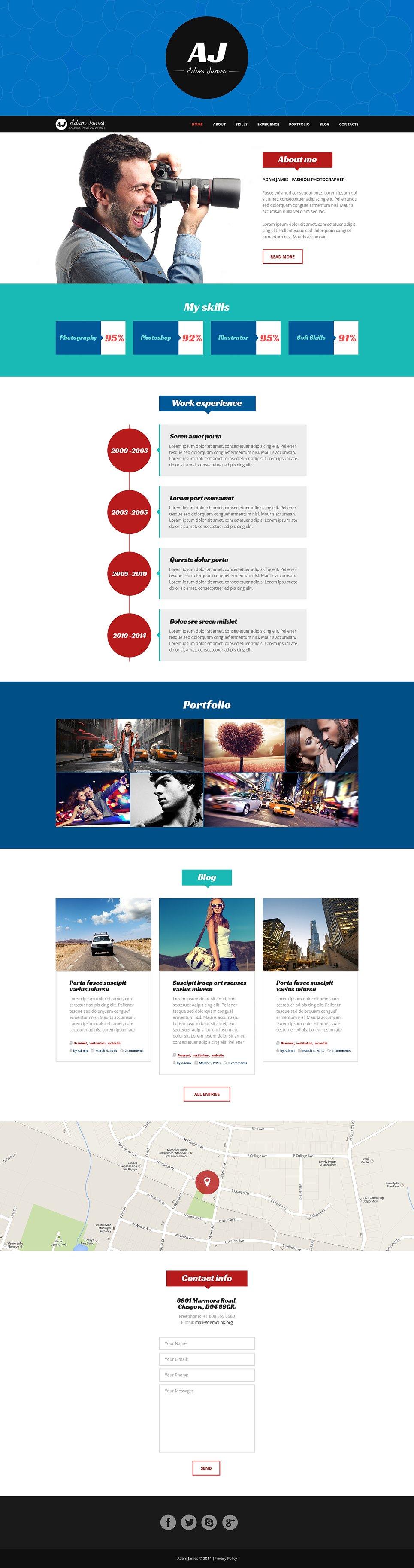 Адаптивный шаблон сайта на тему портфолио фотографа #49155