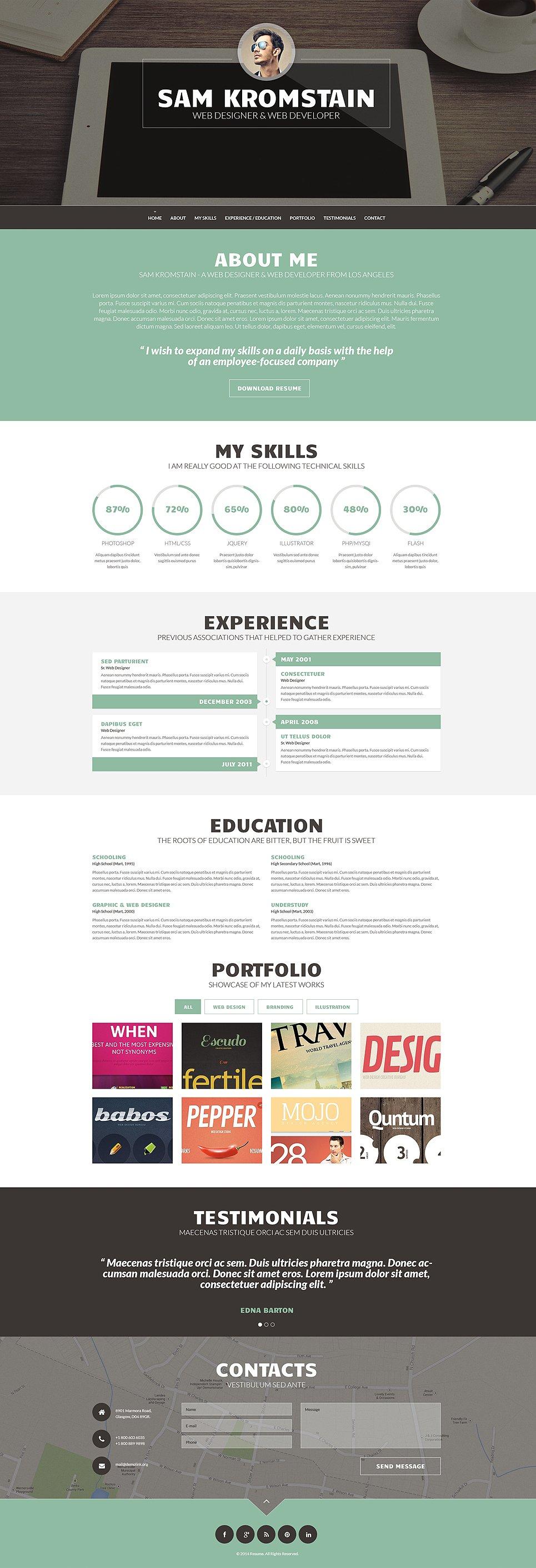 Адаптивный шаблон сайта на тему портфолио дизайнера #49157