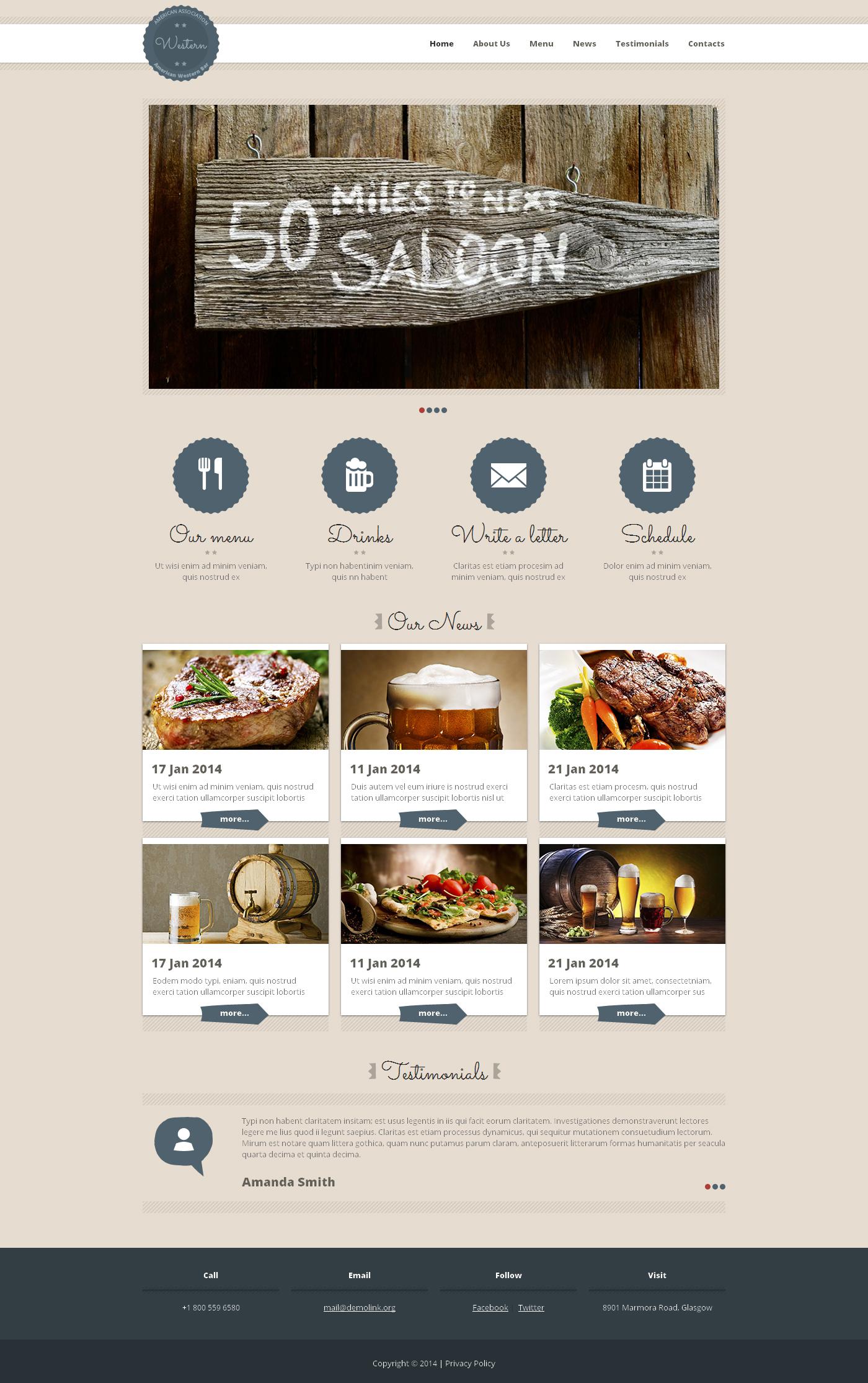 Cafe and Restaurant Responsive Website Template - screenshot