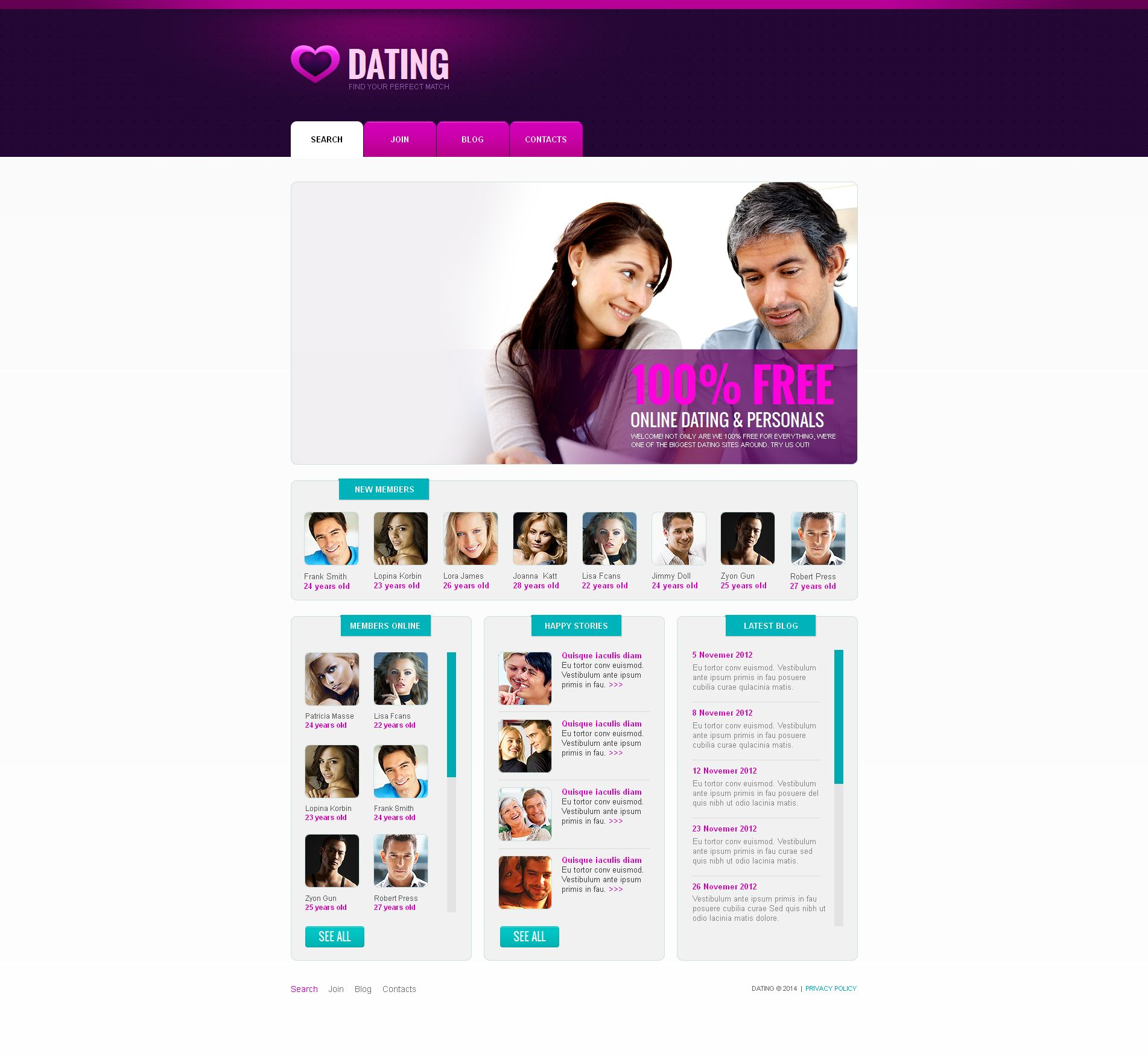 CMS dating website templates
