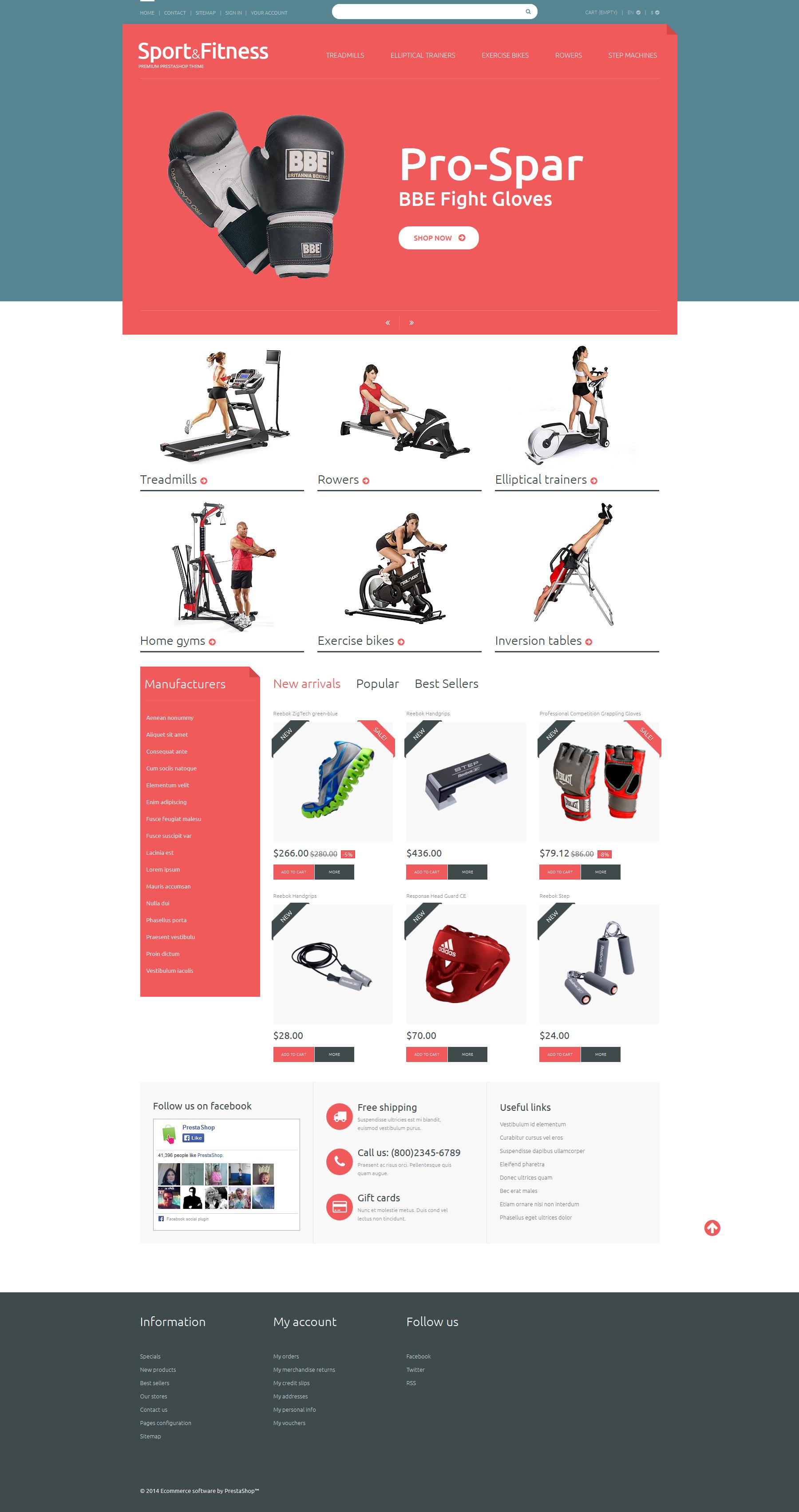 Free Sport Shop PrestaShop Theme PrestaShop Theme - screenshot