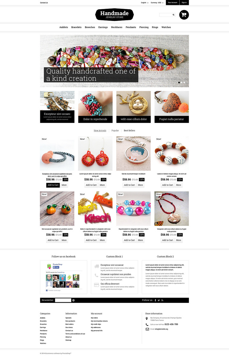 Handmade Jewelry PrestaShop Theme New Screenshots BIG