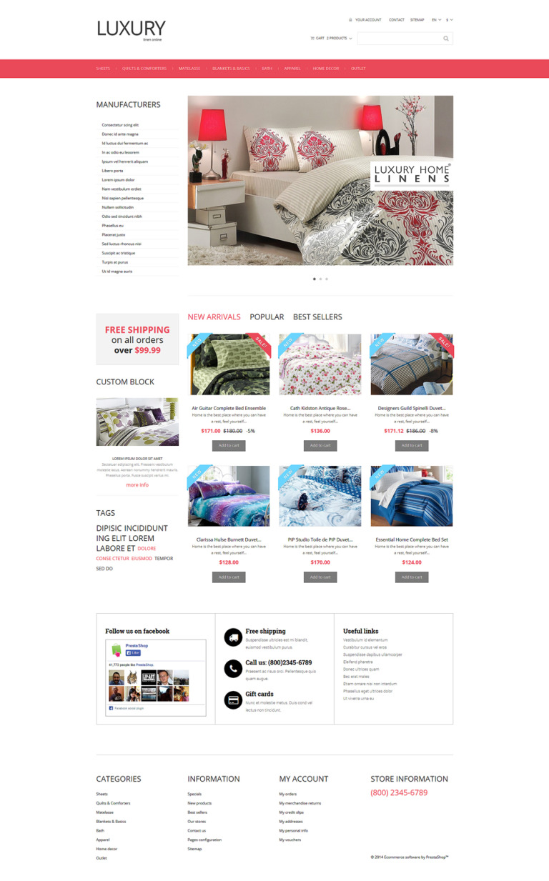 Linen Store PrestaShop Theme New Screenshots BIG