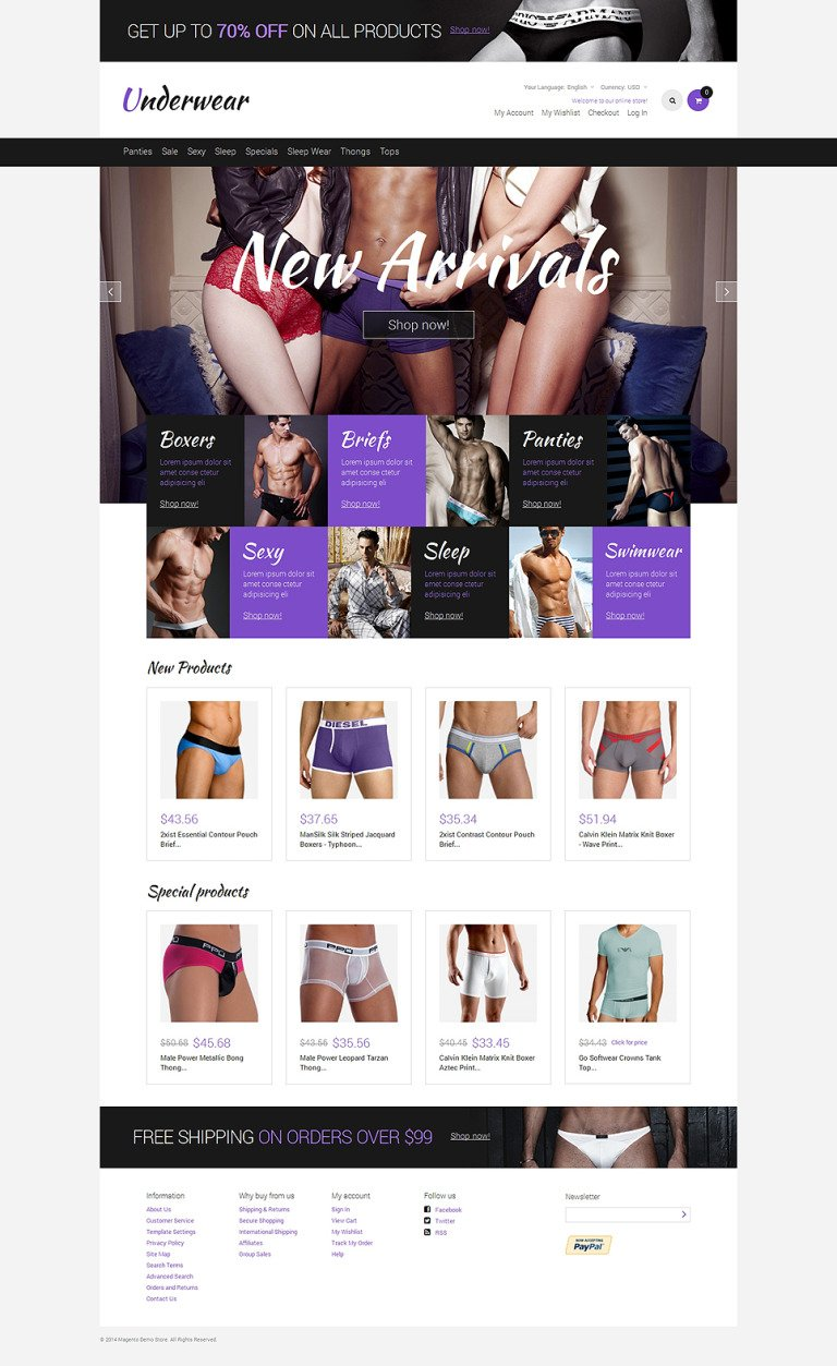 Men's Underwear Responsive Magento Theme New Screenshots BIG
