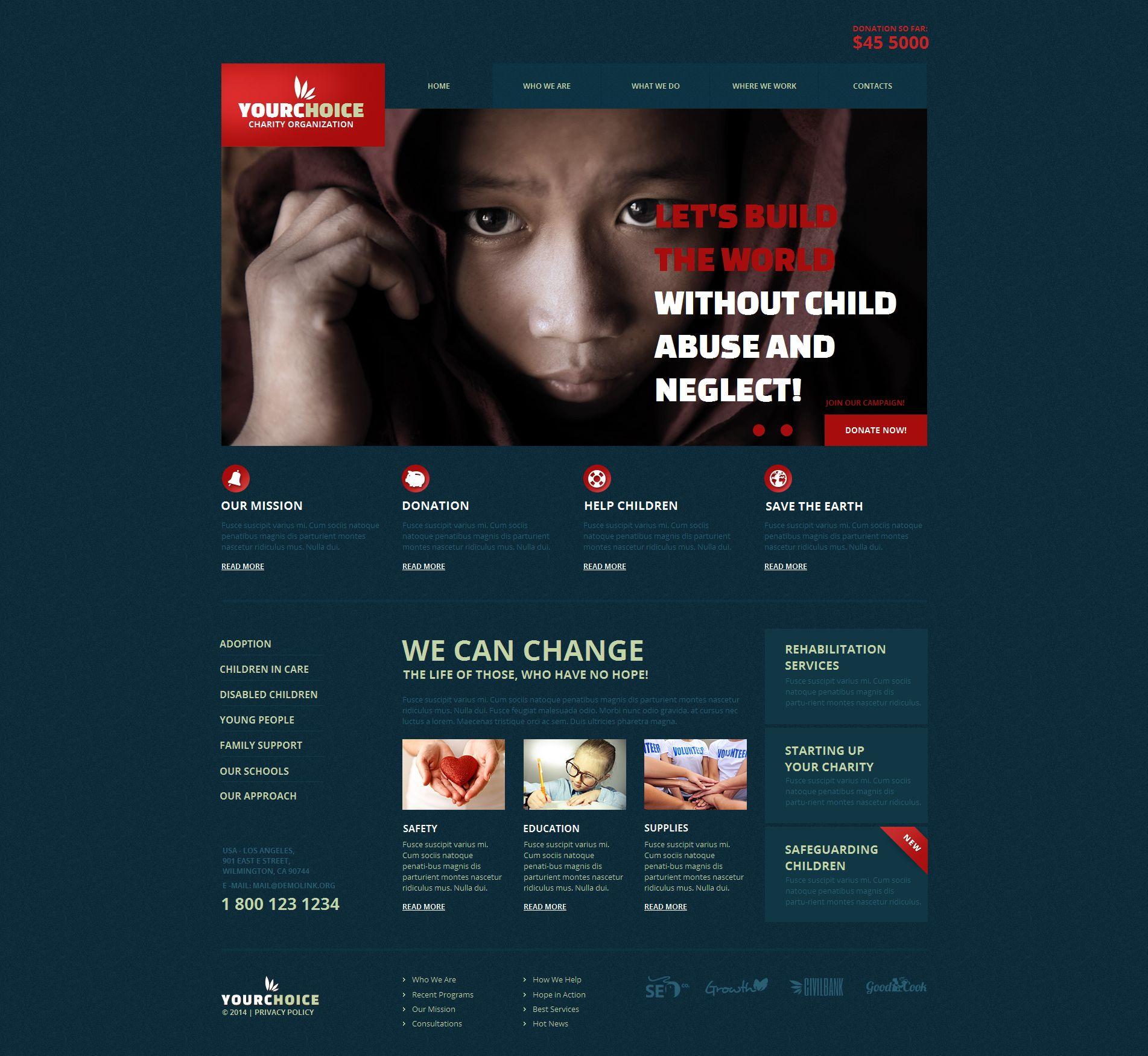 Modèle Moto CMS HTML Premium pour site d'association caritative #49179
