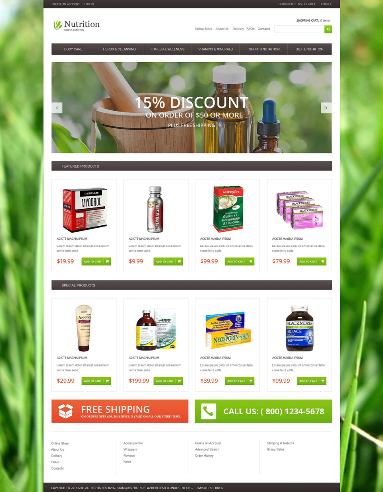 Nutrition Supplements VirtueMart Template New Screenshots BIG