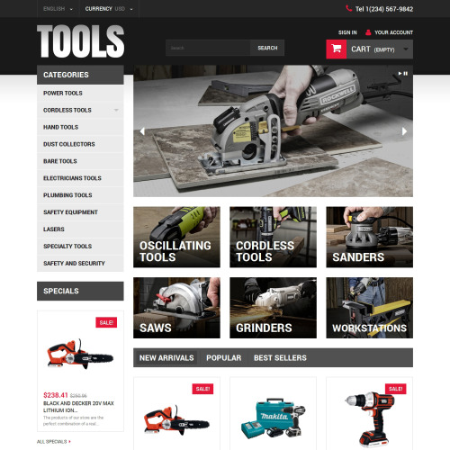 Tools - PrestaShop Template based on Bootstrap