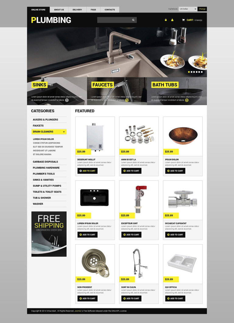 Plumbing VirtueMart Template New Screenshots BIG