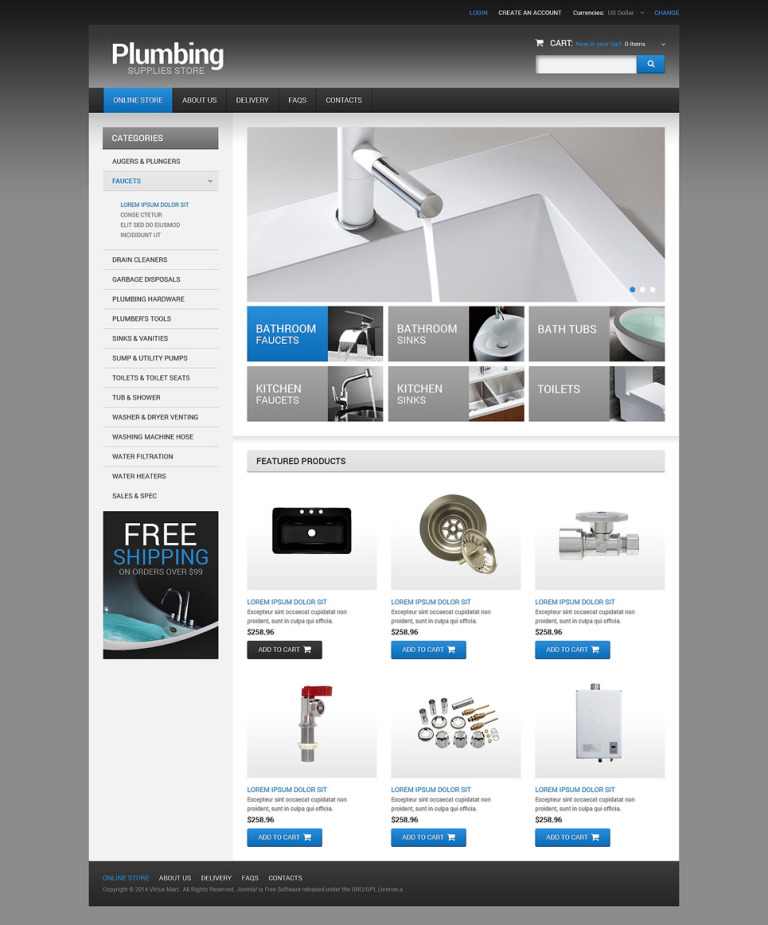 Plumbing VirtueMart Template New Screenshots BIG