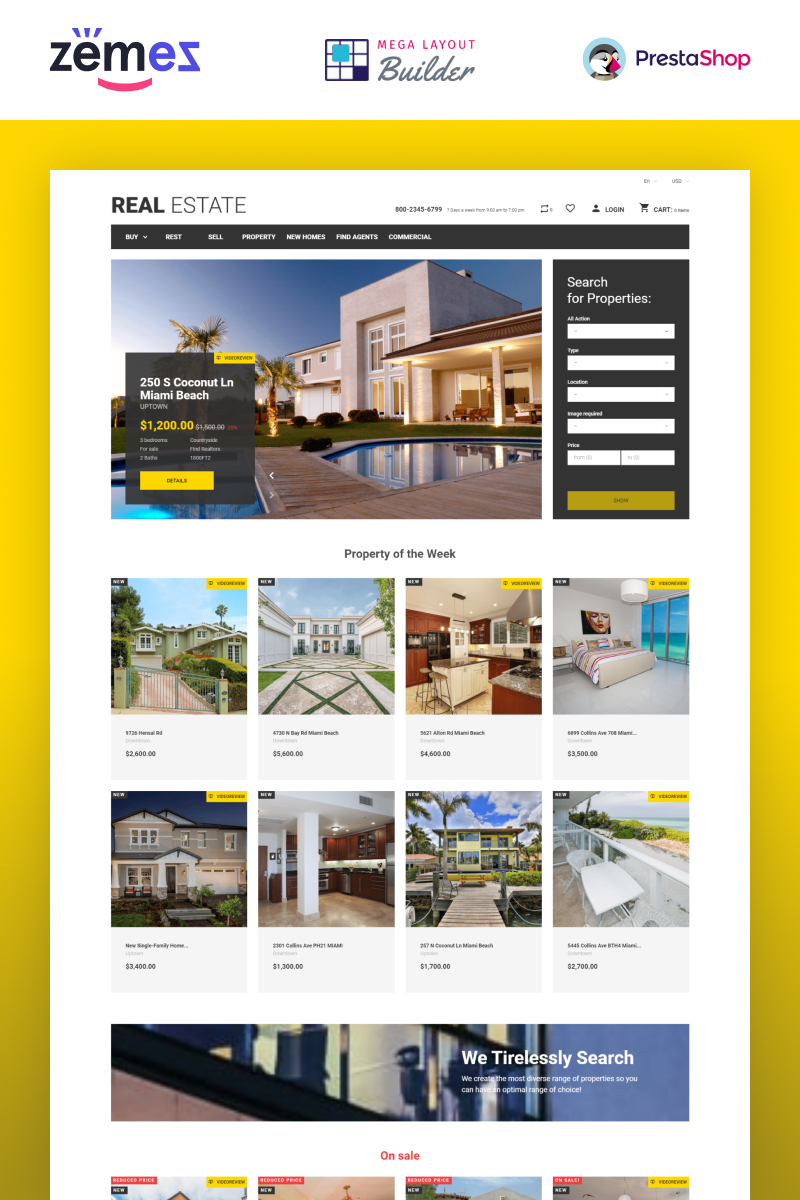 """Real Estate Business"" Responsive PrestaShop Thema №49108"