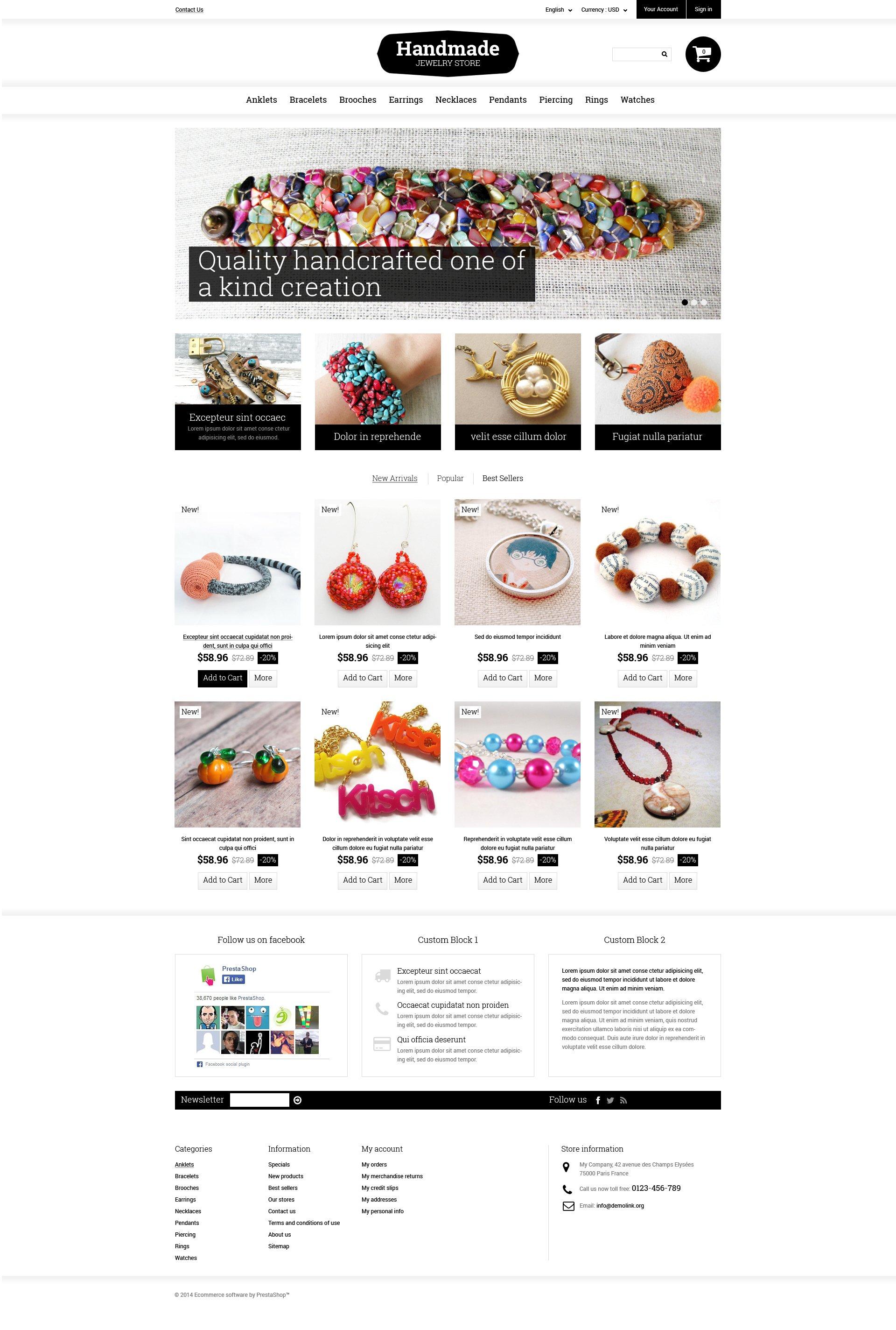 Responsivt Handmade Jewelry PrestaShop-tema #49165 - skärmbild