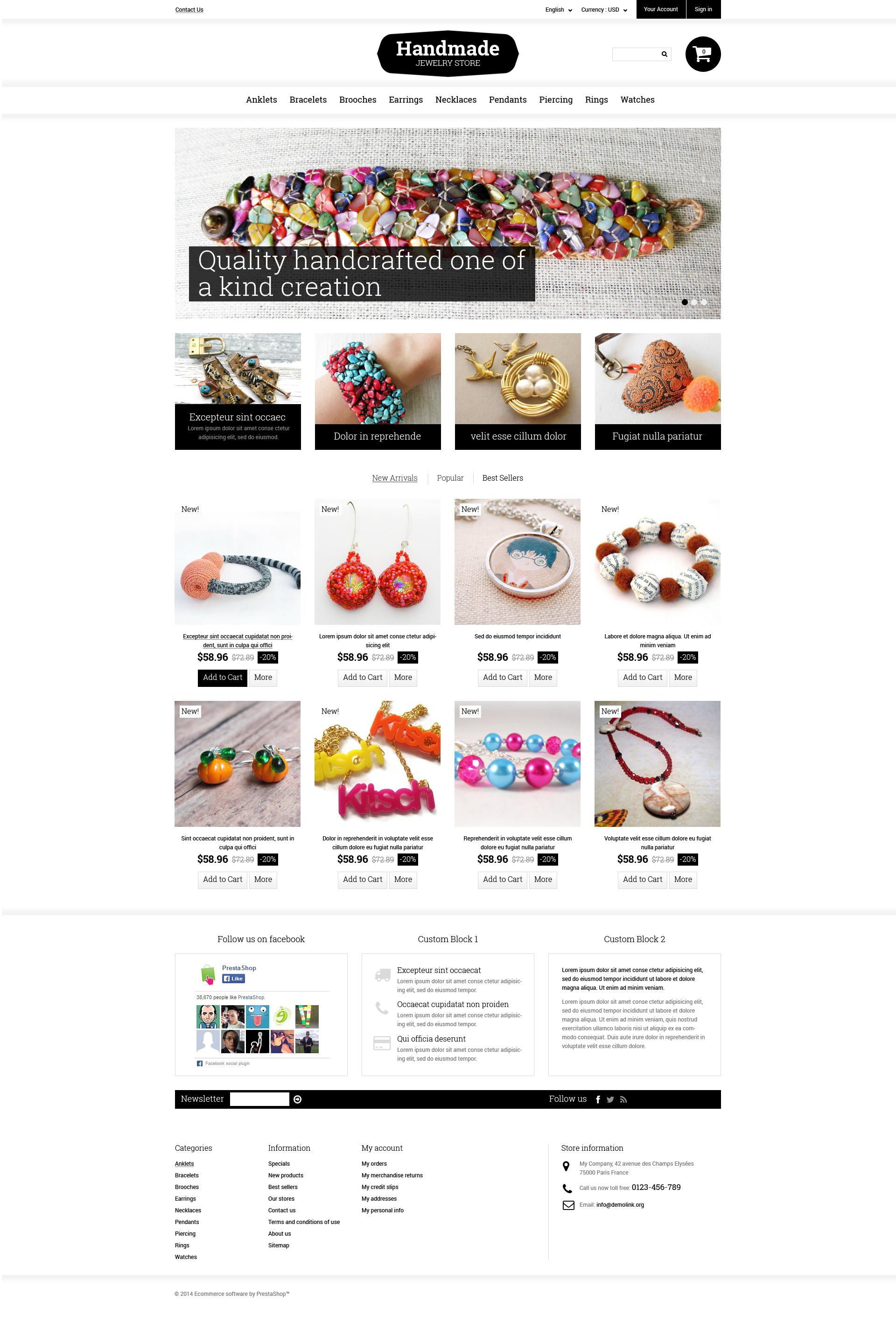 Responsywny szablon PrestaShop Handmade Jewelry #49165 - zrzut ekranu