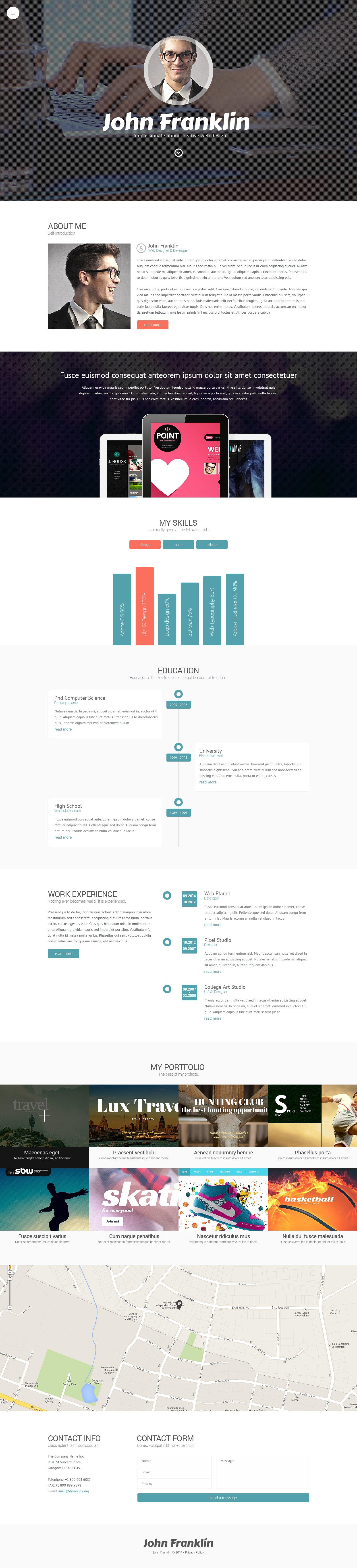 "Responzivní WordPress motiv ""Designer's Portfolio"" #49156 - screenshot"