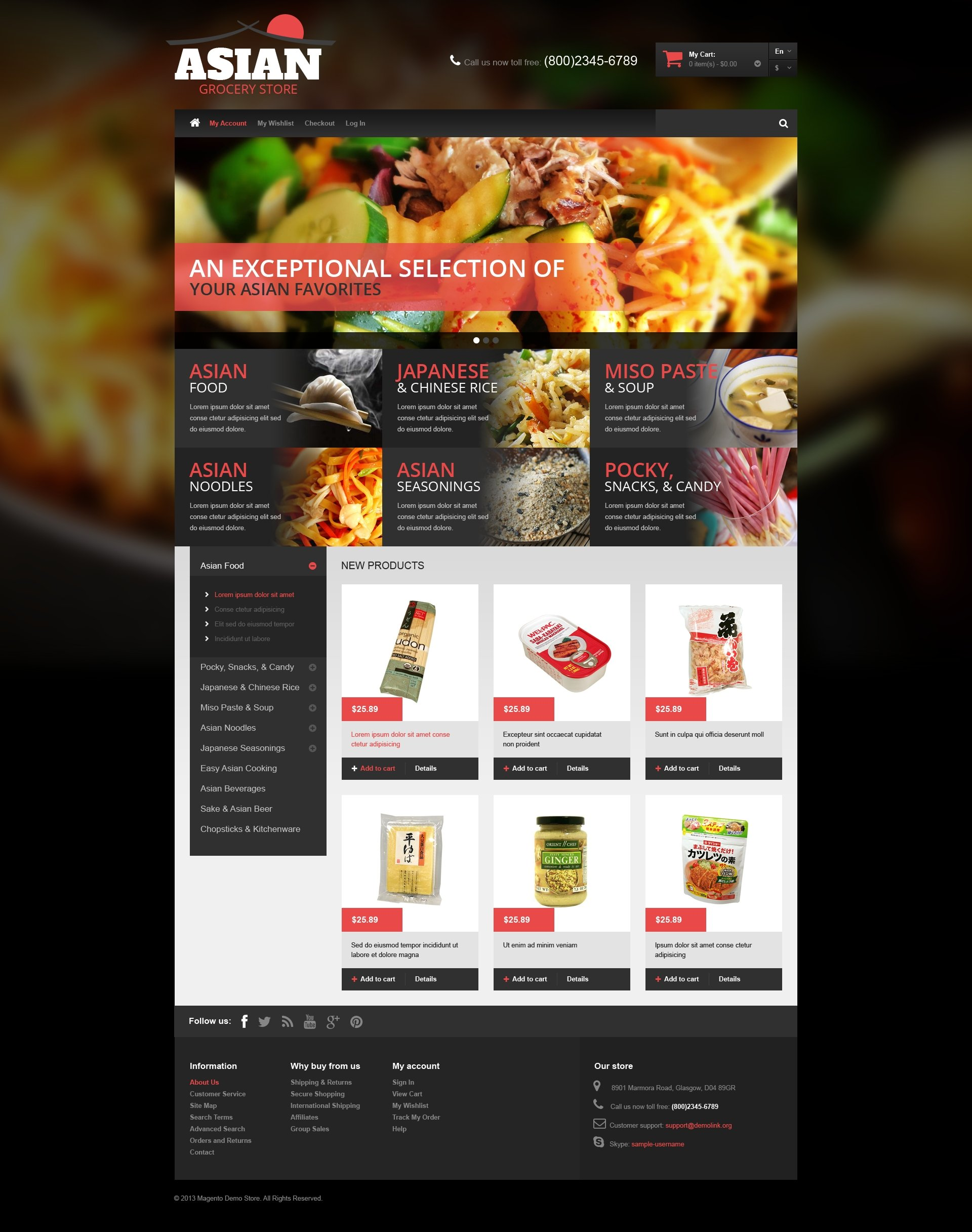 "Tema Magento ""Asian Grocery"" #49144"