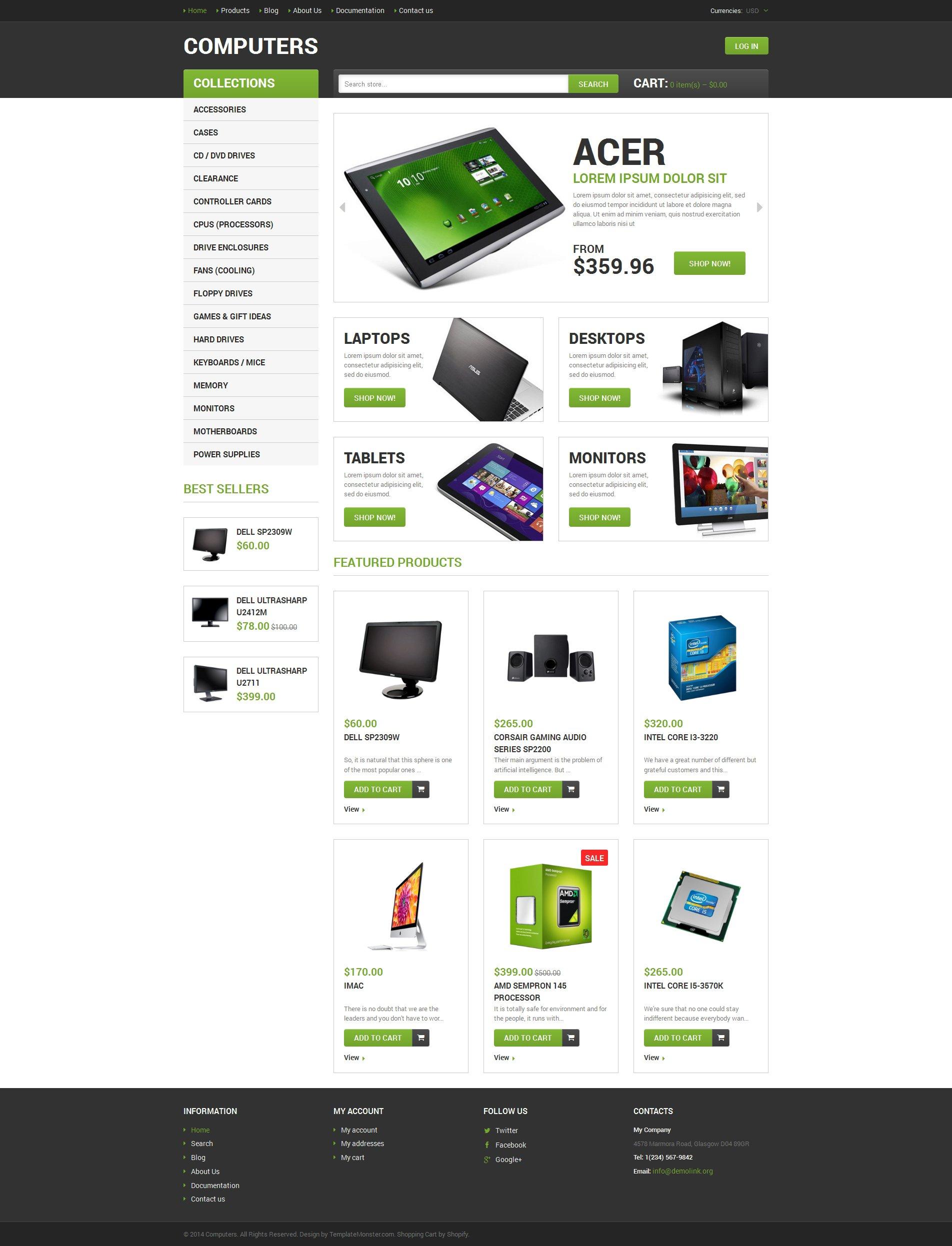 Tema Shopify Responsive para Sitio de Tienda de Ordenadores #49166
