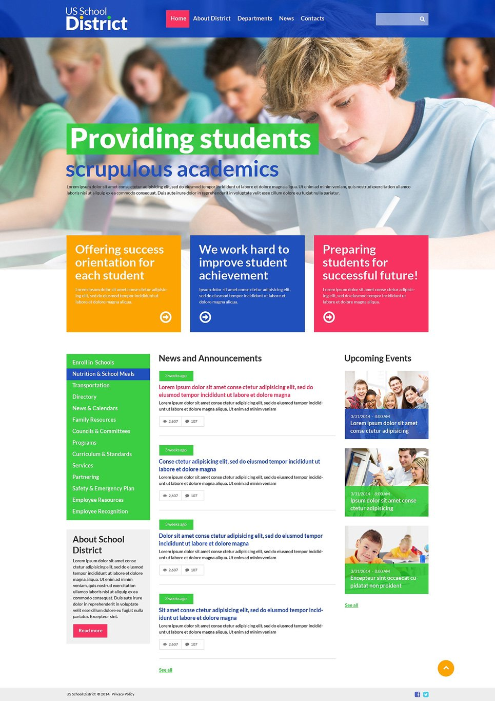 University Responsive Website Template - Education website templates