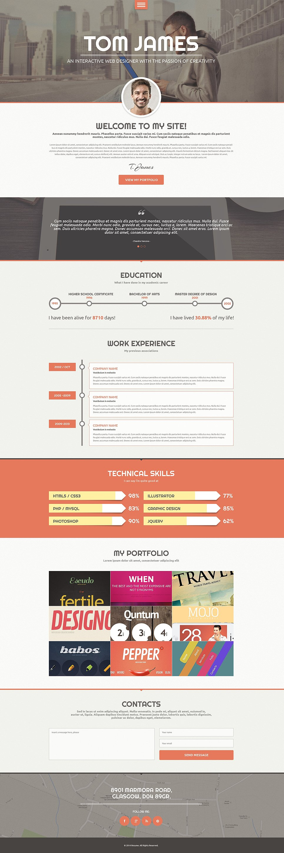 web designer cv wordpress theme 49159