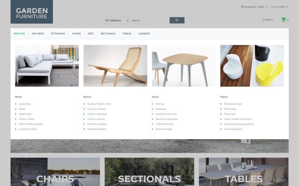 Garden Furniture - Outdoor Furniture Template PrestaShop Theme