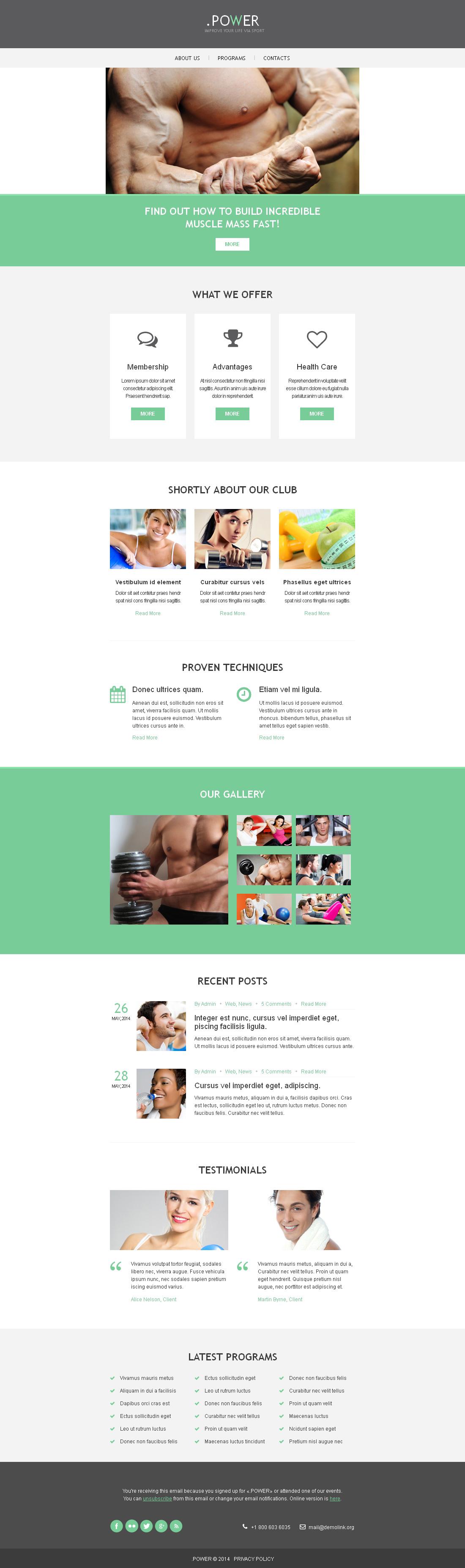 Адаптивний Шаблон E-mail розсилки на тему bodybuilding templates №49266