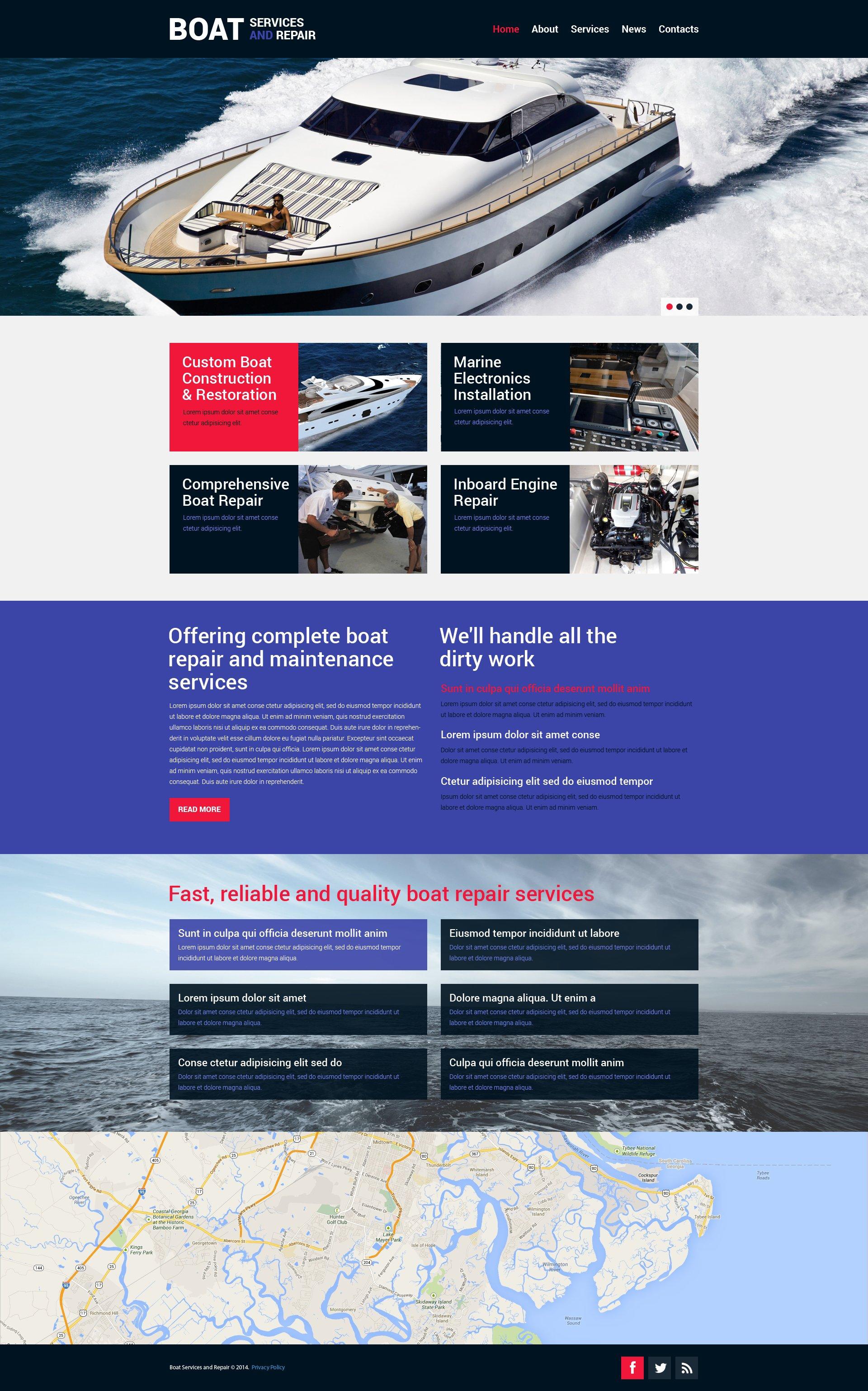 Адаптивний Шаблон сайту на тему яхтинг №49269