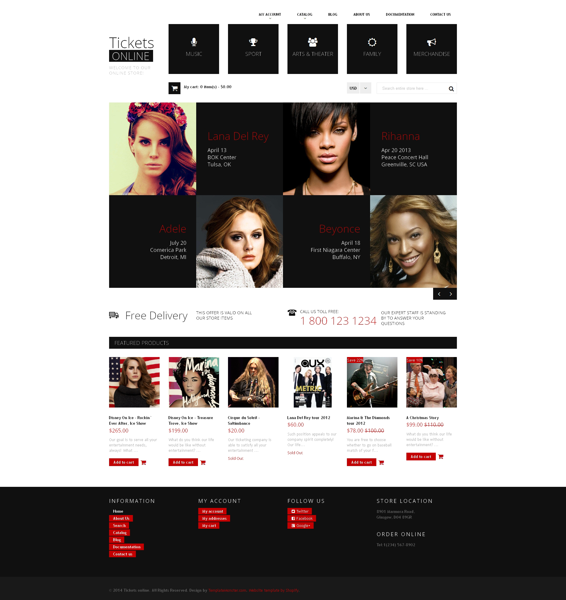 Адаптивний Shopify шаблон на тему веб-сайт квитки №49252