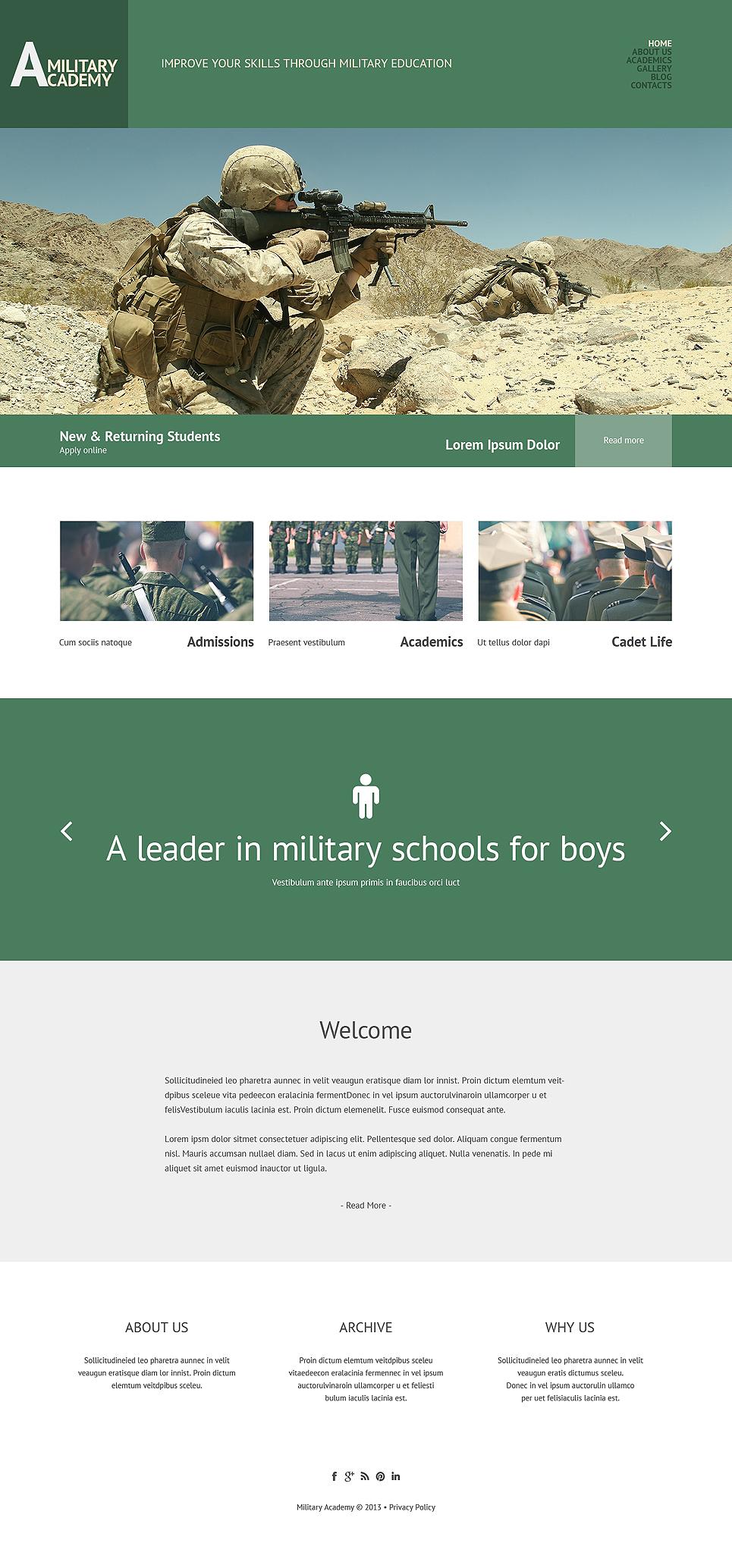 Адаптивный шаблон сайта на тему армия #49221