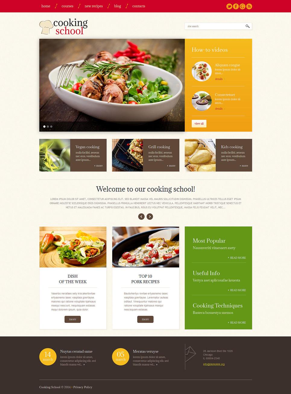 Адаптивный шаблон сайта на тему кулинарная школа #49228
