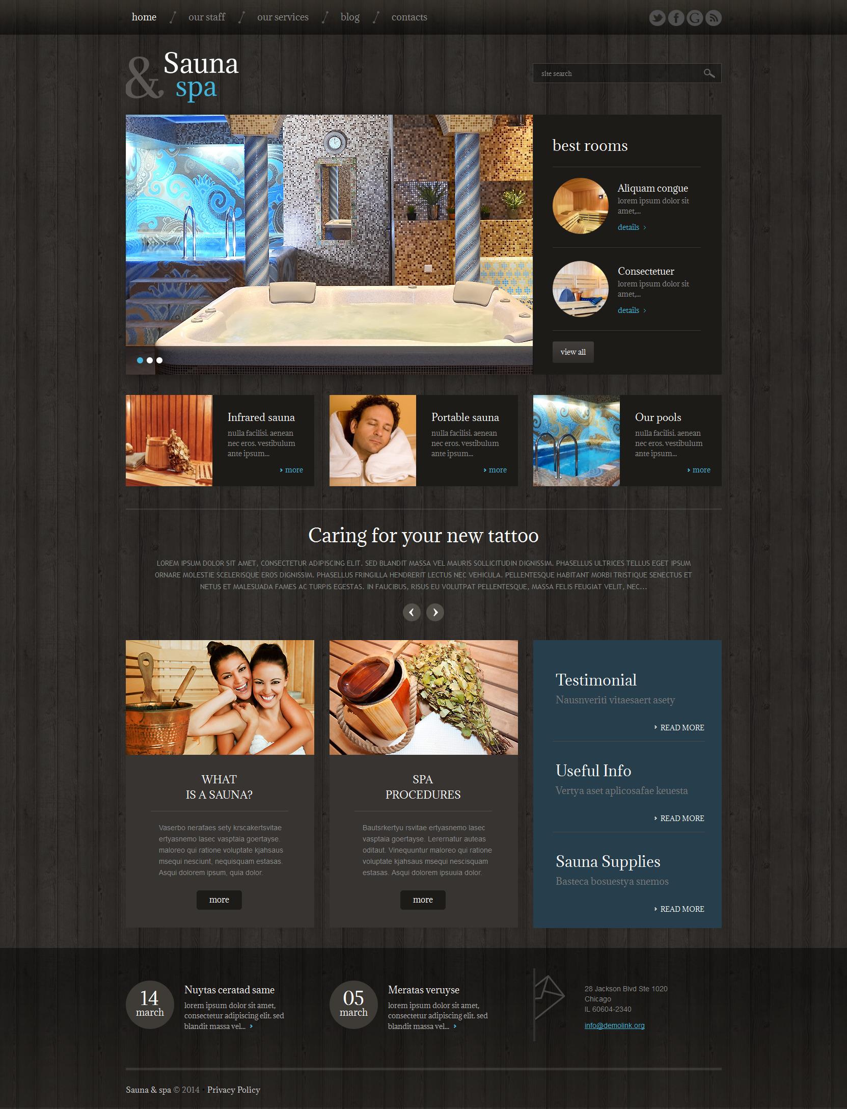 Адаптивный WordPress шаблон №49229 на тему сауна