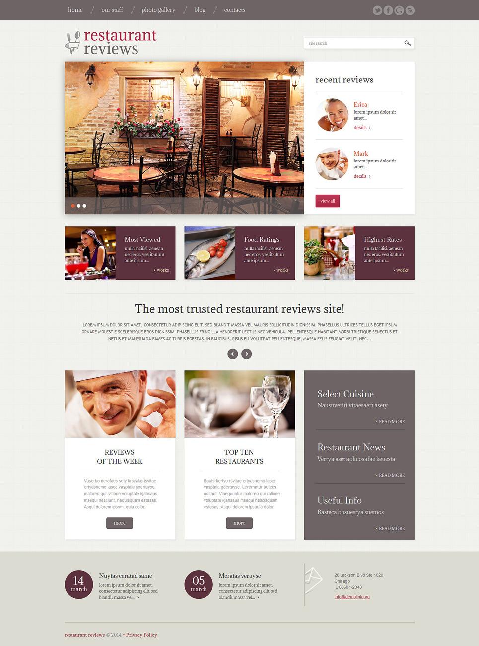 Адаптивный шаблон сайта на тему отзывы о ресторанах #49230