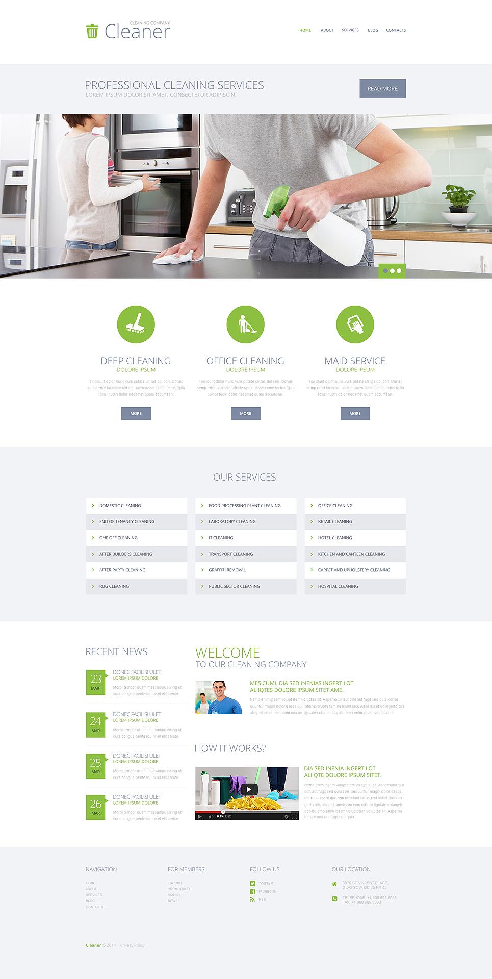 Адаптивный шаблон сайта на тему клининговая компания #49233