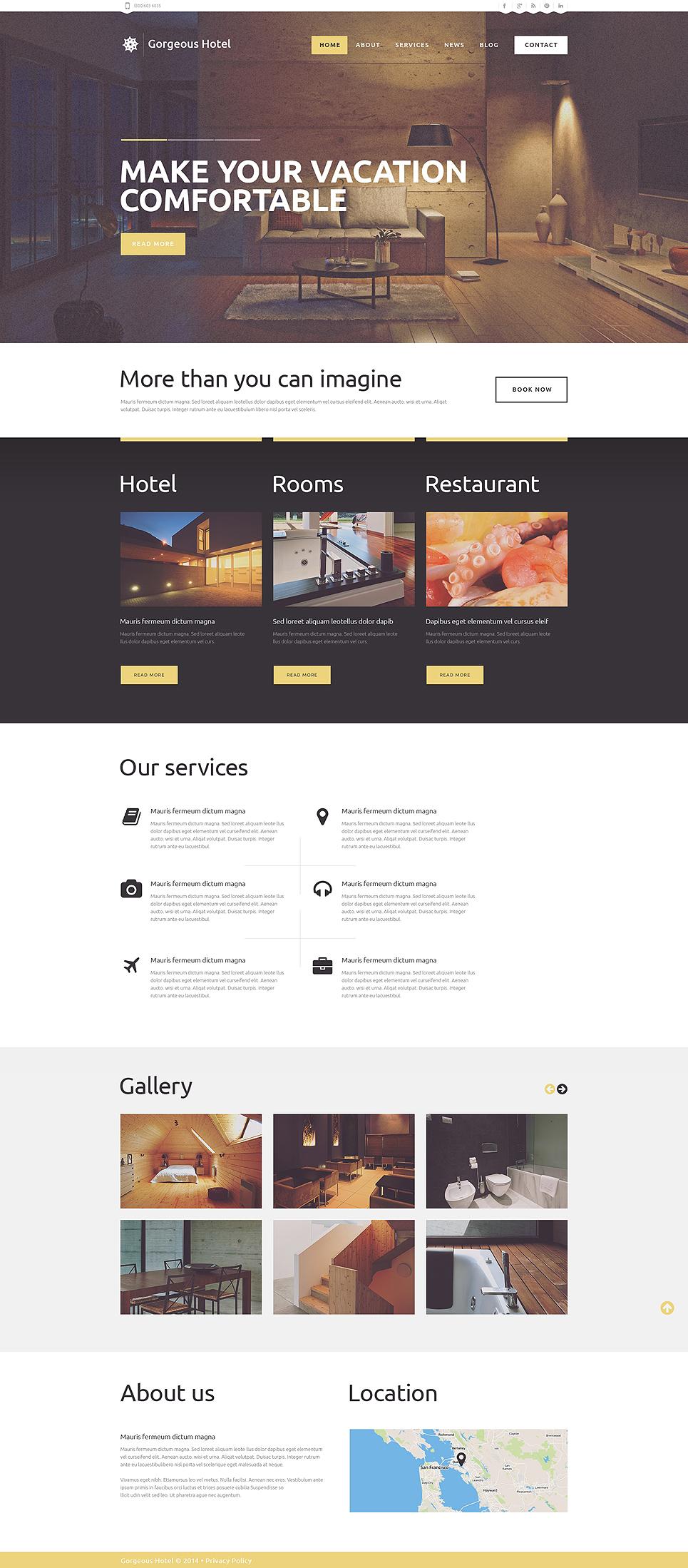 Адаптивный шаблон сайта на тему отели #49248