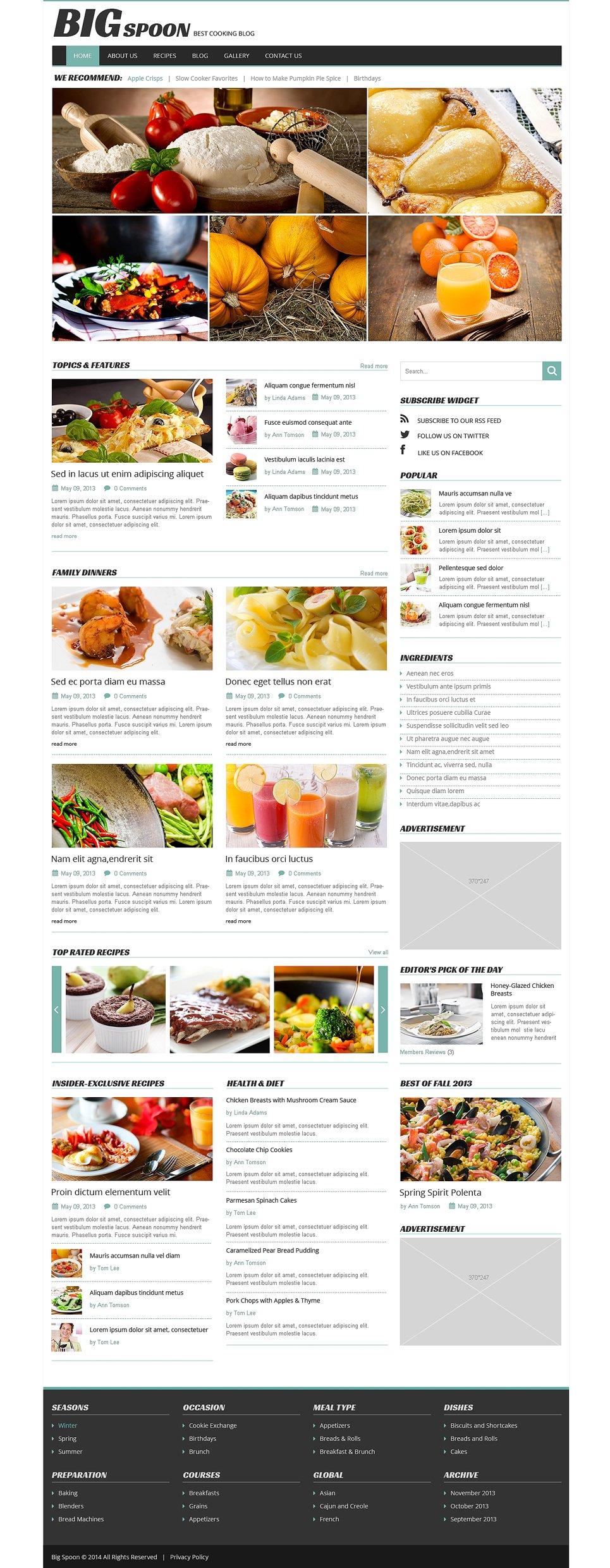 Адаптивный шаблон сайта на тему кулинария #49250