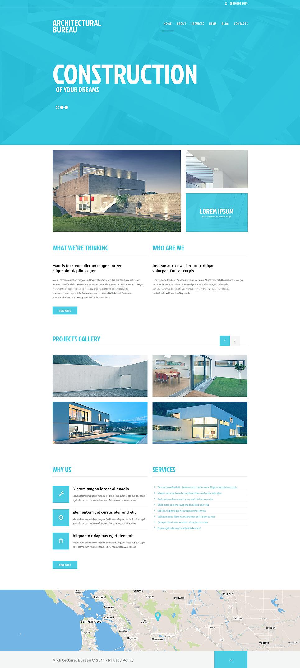 Адаптивный шаблон сайта на тему строительные компании #49251