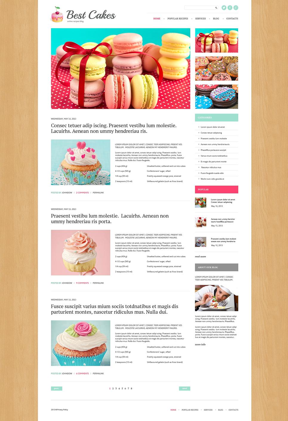 Адаптивный шаблон сайта на тему магазин сладостей #49283