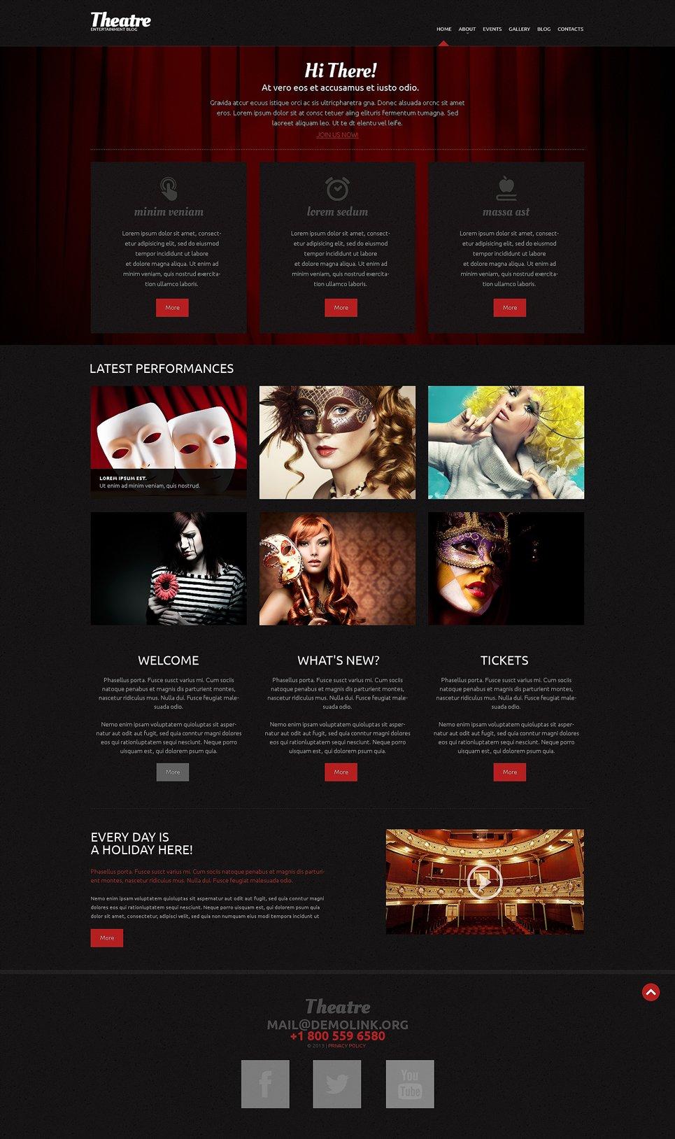 Адаптивный шаблон сайта на тему театр #49288