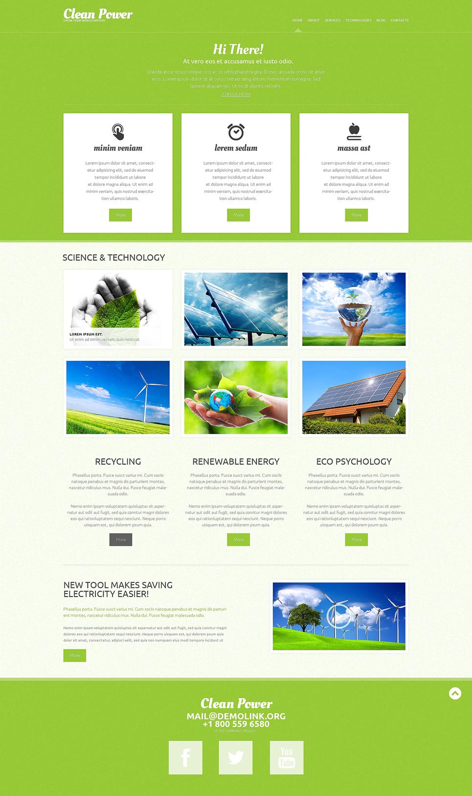Адаптивный шаблон сайта на тему альтернативная энергия #49290