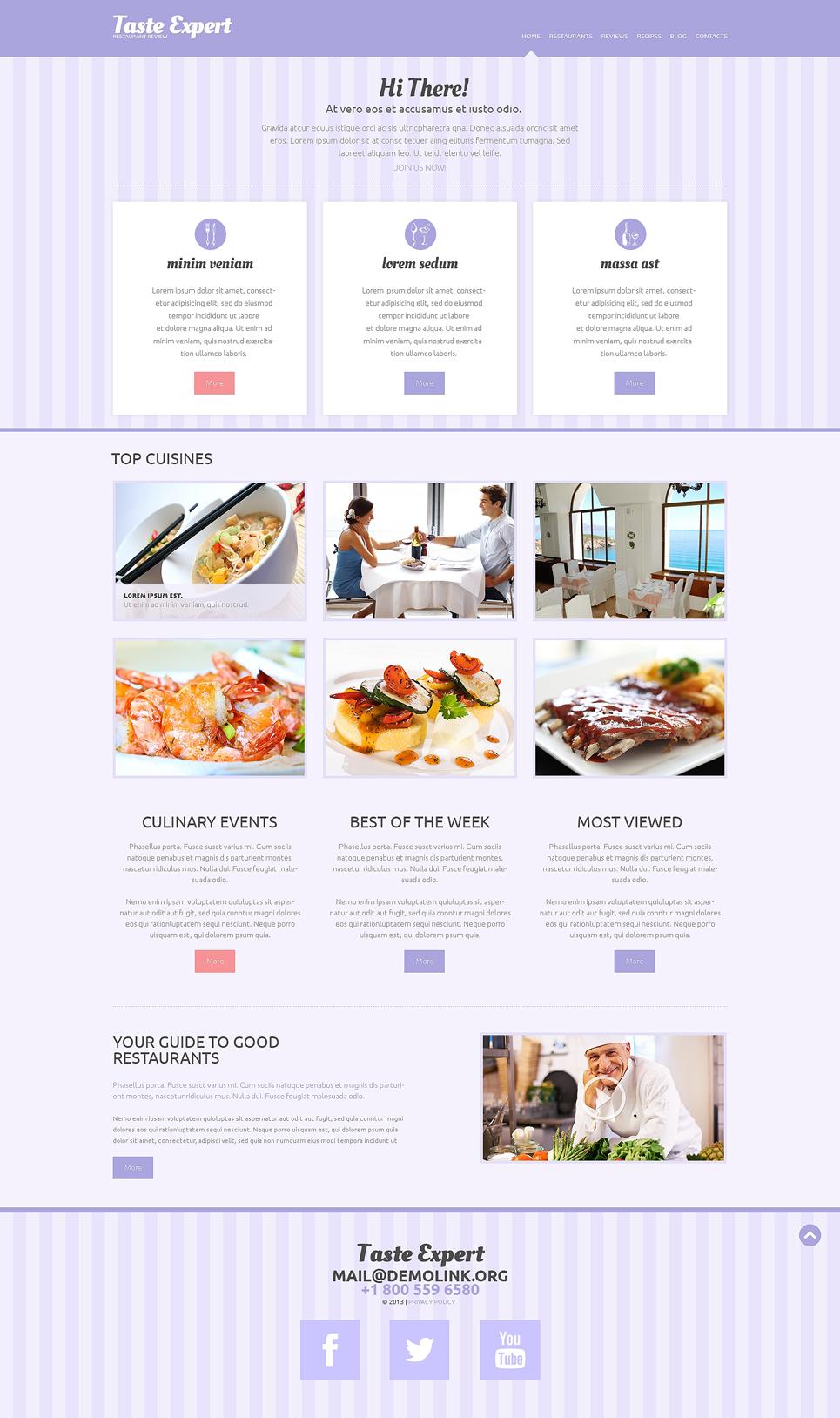 Адаптивный шаблон сайта на тему отзывы о ресторанах #49291