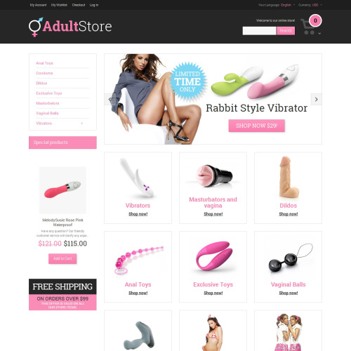Adult Store - Responsive Magento Template