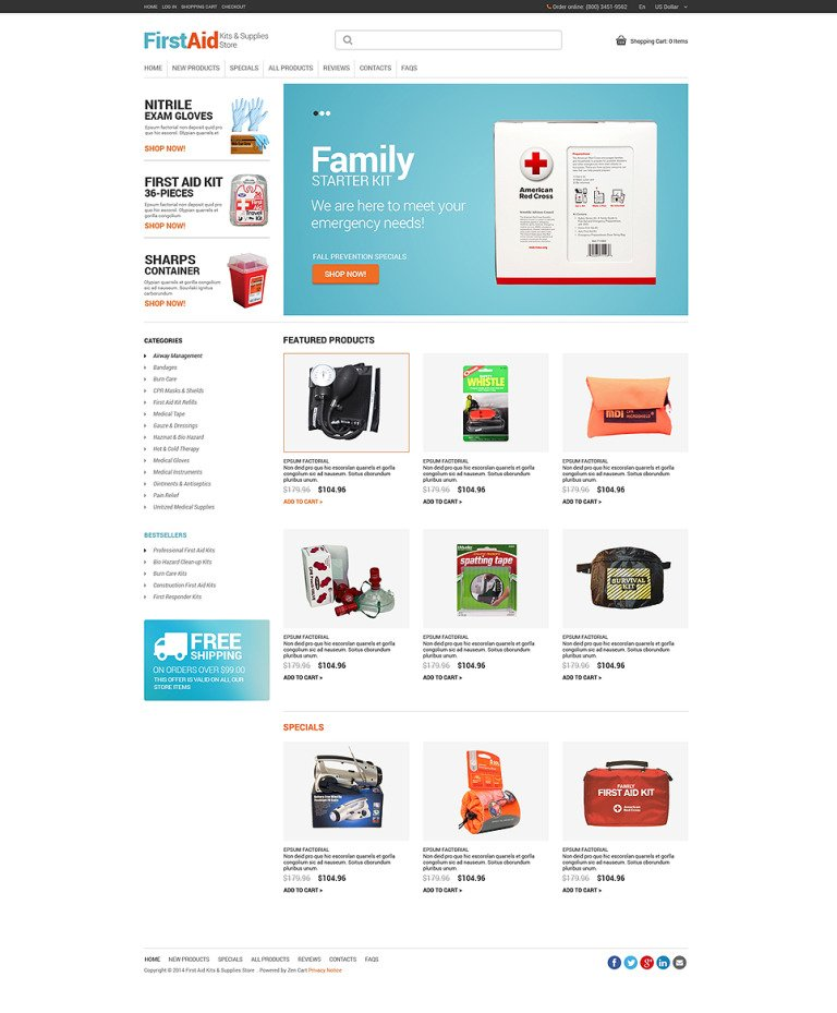 Ambulance ZenCart Template New Screenshots BIG