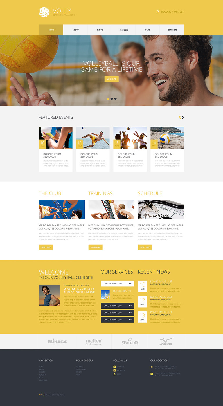 Beach Volleyball Club WordPress Theme New Screenshots BIG