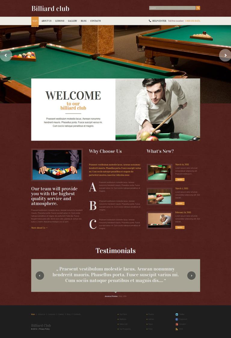 Billiards Responsive WordPress Theme New Screenshots BIG