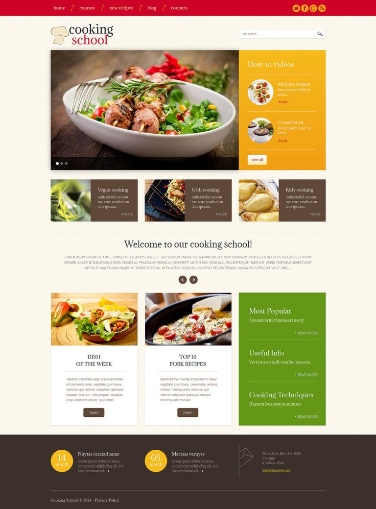 Cooking School Responsive WordPress Theme New Screenshots BIG