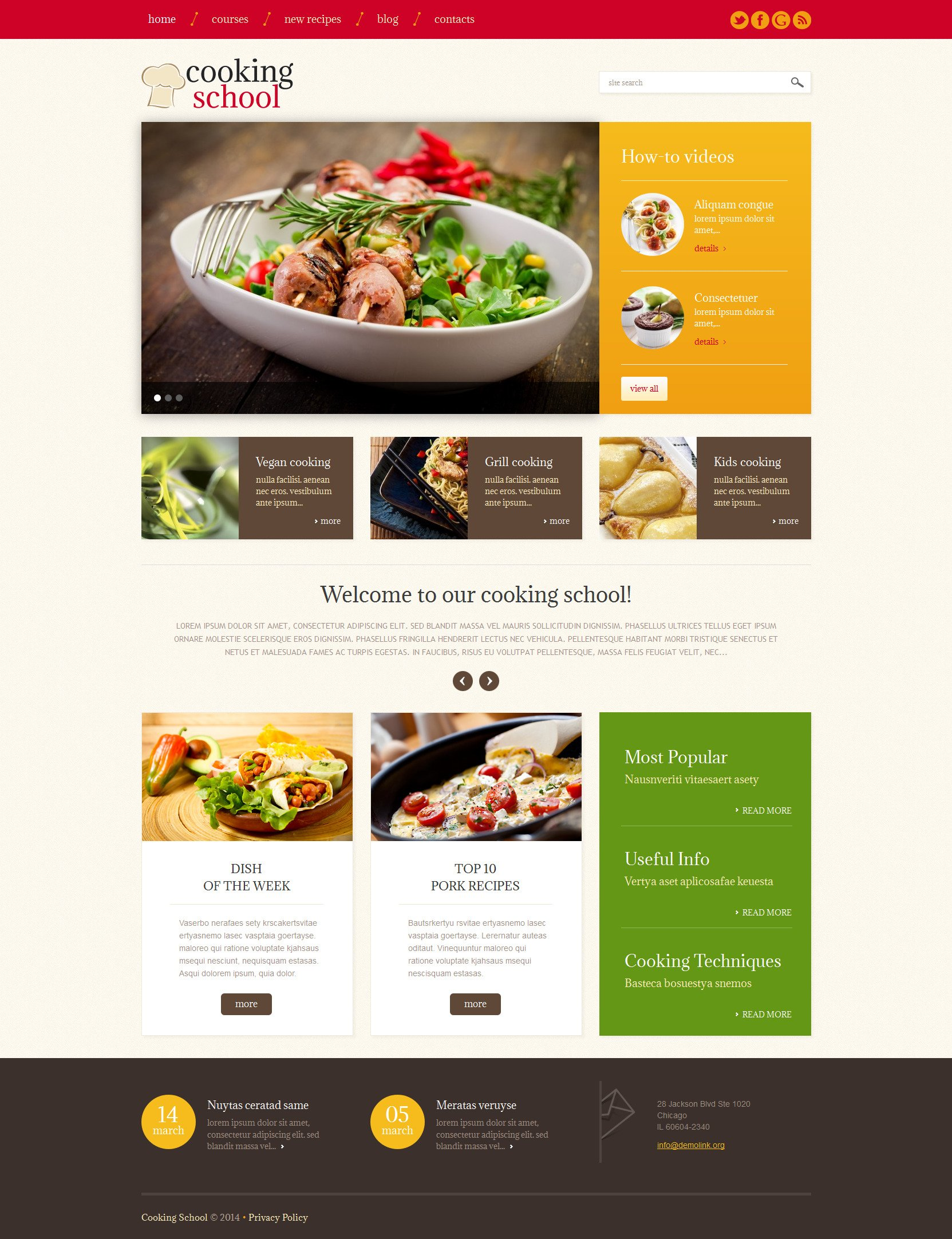 Cooking School Responsive WordPress Theme