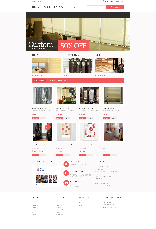 """Curtains Store"" - адаптивний PrestaShop шаблон №49299"