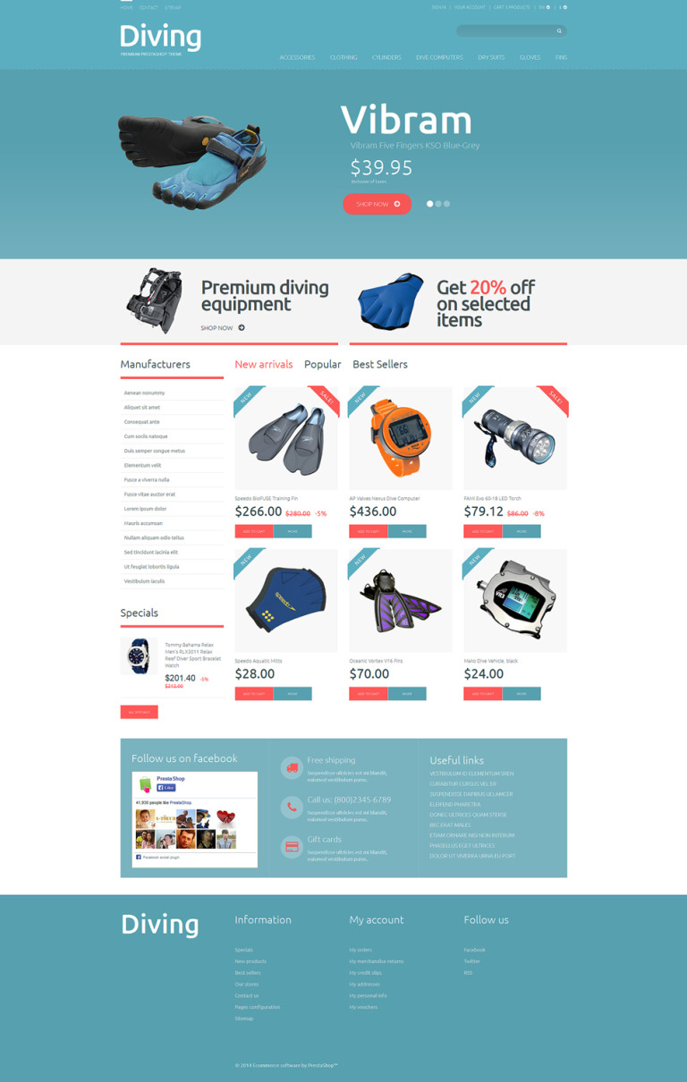 Diving Shop PrestaShop Theme New Screenshots BIG