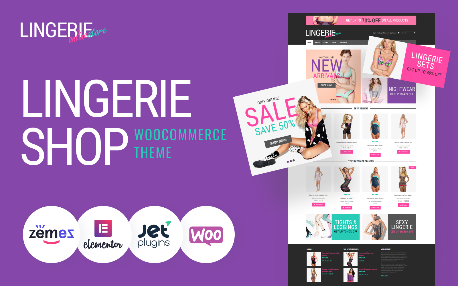 """Feminine Lingerie"" - адаптивний WooCommerce шаблон №49298"