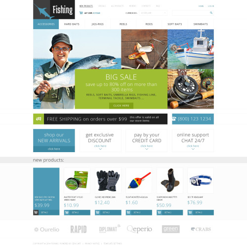 Fishing - HTML5 ZenCart Fishing Store Template