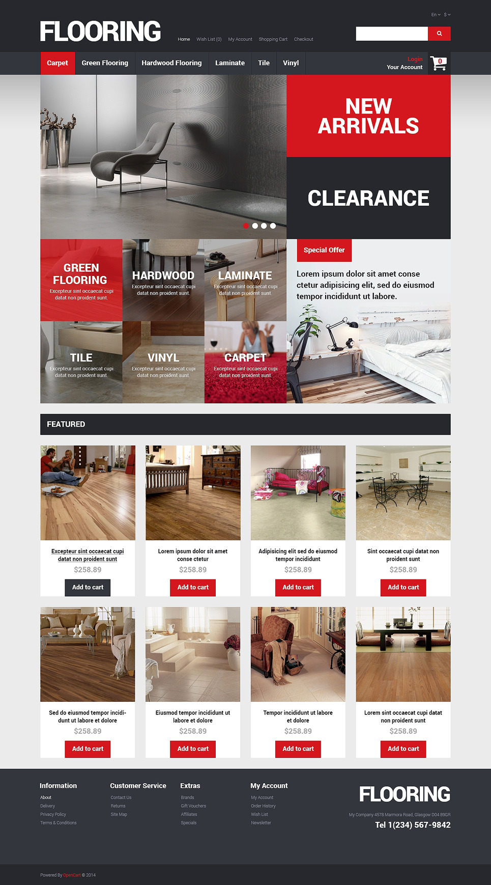 Flooring Store OpenCart Template New Screenshots BIG