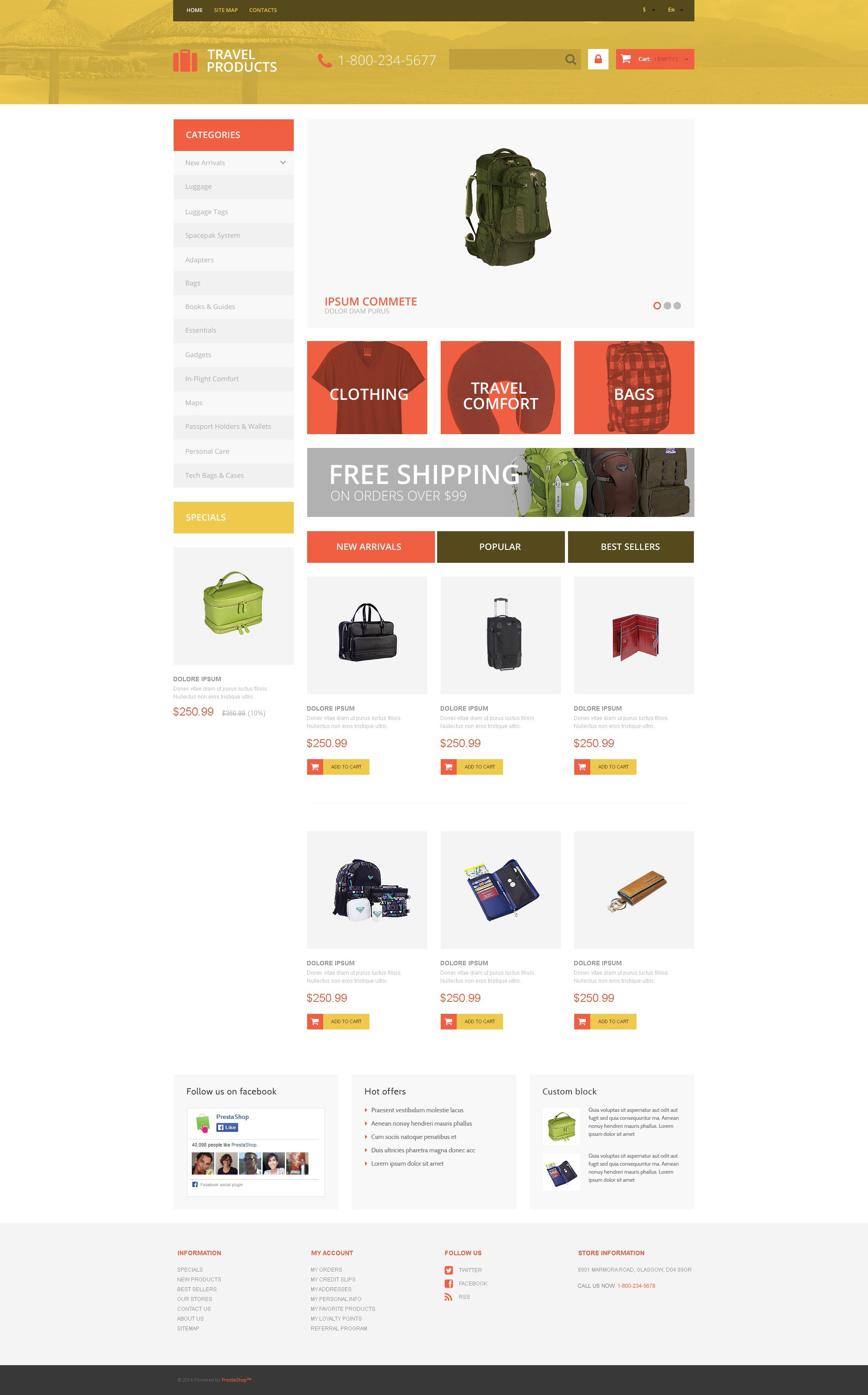 Free travel store prestashop theme for Presta shop templates
